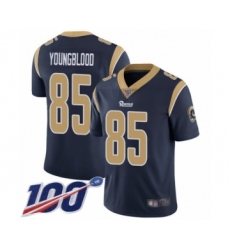 Men's Los Angeles Rams #85 Jack Youngblood Navy Blue Team Color Vapor Untouchable Limited Player 100th Season Football Jersey