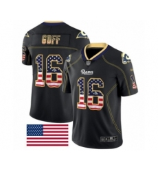 Men's Los Angeles Rams #16 Jared Goff Limited Black Rush USA Flag Football Jersey