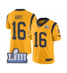 Men's Nike Los Angeles Rams #16 Jared Goff Limited Gold Rush Vapor Untouchable Super Bowl LIII Bound NFL Jersey