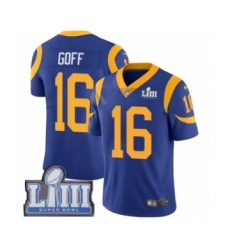Men's Nike Los Angeles Rams #16 Jared Goff Royal Blue Alternate Vapor Untouchable Limited Player Super Bowl LIII Bound NFL Jersey