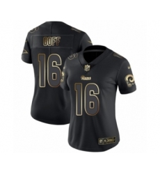 Women's Los Angeles Rams #16 Jared Goff Black Gold Vapor Untouchable Limited Player Football Jersey
