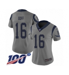 Women's Los Angeles Rams #16 Jared Goff Limited Gray Inverted Legend 100th Season Football Jersey