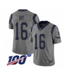 Youth Los Angeles Rams #16 Jared Goff Limited Gray Inverted Legend 100th Season Football Jersey