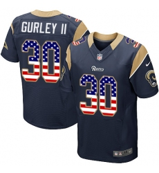 Men's Nike Los Angeles Rams #30 Todd Gurley Elite Navy Blue Home USA Flag Fashion NFL Jersey