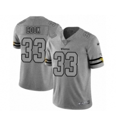 Men's Minnesota Vikings #33 Dalvin Cook Limited Gray Team Logo Gridiron Football Jersey