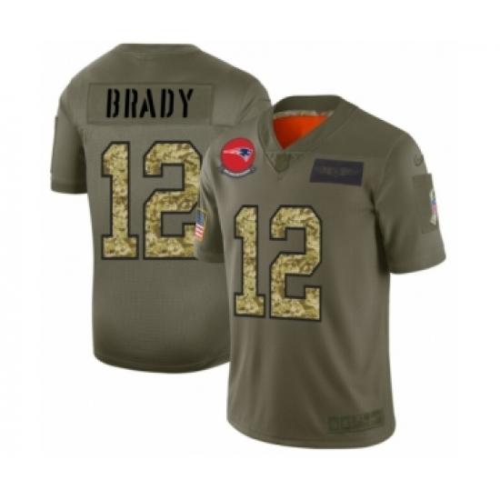 Men's New England Patriots #12 Tom Brady 2019 Olive Camo Salute to Service Limited Jersey