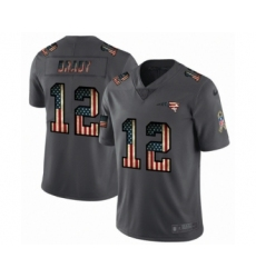 Men's New England Patriots #12 Tom Brady Limited Black USA Flag 2019 Salute To Service Football Jersey