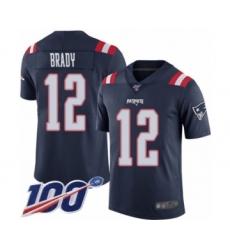 Men's New England Patriots #12 Tom Brady Limited Navy Blue Rush Vapor Untouchable 100th Season Football Jersey