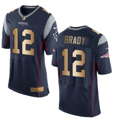 Men's Nike New England Patriots #12 Tom Brady Elite Navy/Gold Team Color NFL Jersey