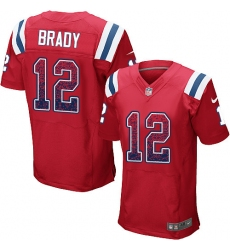 Men's Nike New England Patriots #12 Tom Brady Elite Red Alternate Drift Fashion NFL Jersey