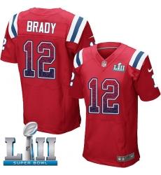 Men's Nike New England Patriots #12 Tom Brady Elite Red Alternate Drift Fashion Super Bowl LII NFL Jersey