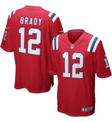 Men's Nike New England Patriots #12 Tom Brady Game Red Alternate NFL Jersey