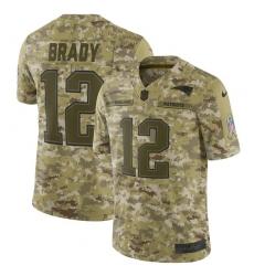 Men's Nike New England Patriots #12 Tom Brady Limited Camo 2018 Salute to Service NFL Jersey