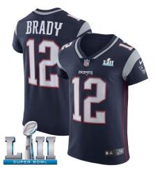 Men's Nike New England Patriots #12 Tom Brady Navy Blue Team Color Vapor Untouchable Elite Player Super Bowl LII NFL Jersey