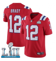 Men's Nike New England Patriots #12 Tom Brady Red Alternate Vapor Untouchable Limited Player Super Bowl LII NFL Jersey