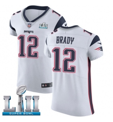 Men's Nike New England Patriots #12 Tom Brady White Vapor Untouchable Elite Player Super Bowl LII NFL Jersey