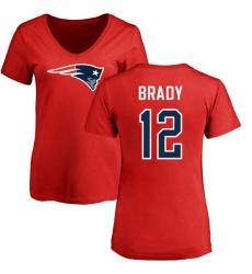 NFL Women's Nike New England Patriots #12 Tom Brady Red Name & Number Logo Slim Fit T-Shirt