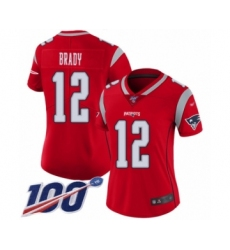 Women's New England Patriots #12 Tom Brady Limited Red Inverted Legend 100th Season Football Jersey