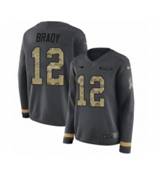 Women's Nike New England Patriots #12 Tom Brady Limited Black Salute to Service Therma Long Sleeve NFL Jersey