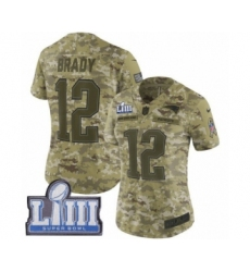 Women's Nike New England Patriots #12 Tom Brady Limited Camo 2018 Salute to Service Super Bowl LIII Bound NFL Jersey