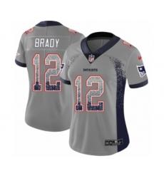 Women's Nike New England Patriots #12 Tom Brady Limited Gray Rush Drift Fashion NFL Jersey