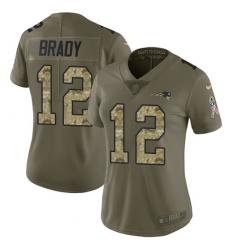 Women's Nike New England Patriots #12 Tom Brady Limited Olive/Camo 2017 Salute to Service NFL Jersey