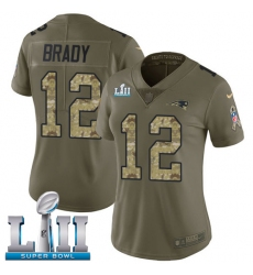 Women's Nike New England Patriots #12 Tom Brady Limited Olive/Camo 2017 Salute to Service Super Bowl LII NFL Jersey