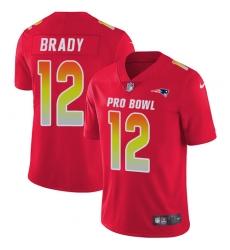 Women's Nike New England Patriots #12 Tom Brady Limited Red 2018 Pro Bowl NFL Jersey