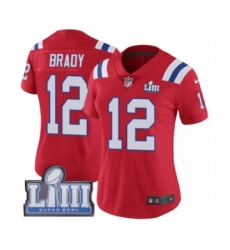 Women's Nike New England Patriots #12 Tom Brady Red Alternate Vapor Untouchable Limited Player Super Bowl LIII Bound NFL Jersey