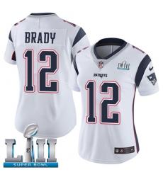 Women's Nike New England Patriots #12 Tom Brady White Vapor Untouchable Limited Player Super Bowl LII NFL Jersey