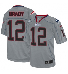 Youth Nike New England Patriots #12 Tom Brady Elite Lights Out Grey NFL Jersey