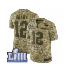 Youth Nike New England Patriots #12 Tom Brady Limited Camo 2018 Salute to Service Super Bowl LIII Bound NFL Jersey