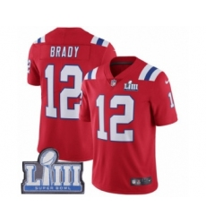 Youth Nike New England Patriots #12 Tom Brady Red Alternate Vapor Untouchable Limited Player Super Bowl LIII Bound NFL Jersey