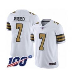 Men's New Orleans Saints #7 Morten Andersen Limited White Rush Vapor Untouchable 100th Season Football Jersey