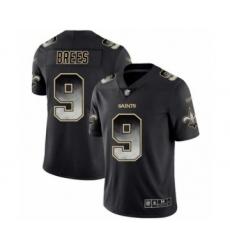 Men's New Orleans Saints #9 Drew Brees Limited Black Smoke Fashion Football Jersey