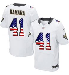 Men's Nike New Orleans Saints #41 Alvin Kamara Elite White Road USA Flag Fashion NFL Jersey
