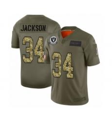Men's Oakland Raiders #34 Bo Jackson 2019 Olive Camo Salute to Service Limited Jersey