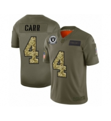 Men's Oakland Raiders #4 Derek Carr 2019 Olive Camo Salute to Service Limited Jersey