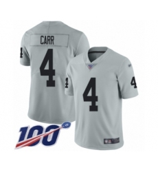 Men's Oakland Raiders #4 Derek Carr Limited Silver Inverted Legend 100th Season Football Jersey