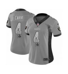 Women's Nike Oakland Raiders #4 Derek Carr Limited Gray Rush Drift Fashion NFL Jersey
