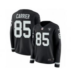 Women's Nike Oakland Raiders #85 Derek Carrier Limited Black Therma Long Sleeve NFL Jersey