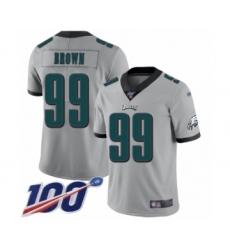 Men's Philadelphia Eagles #99 Jerome Brown Limited Silver Inverted Legend 100th Season Football Jersey
