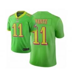 Men Philadelphia Eagles #11 Carson Wentz Green Vapor Limited City Edition Jersey