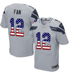 Men's Nike Seattle Seahawks 12th Fan Elite Grey Alternate USA Flag Fashion NFL Jersey