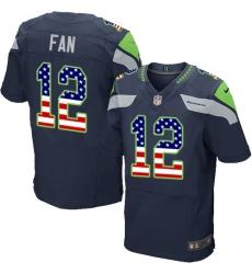 Men's Nike Seattle Seahawks 12th Fan Elite Navy Blue Home USA Flag Fashion NFL Jersey