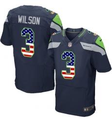 Men's Nike Seattle Seahawks #3 Russell Wilson Elite Navy Blue Home USA Flag Fashion NFL Jersey