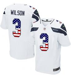 Men's Nike Seattle Seahawks #3 Russell Wilson Elite White Road USA Flag Fashion NFL Jersey