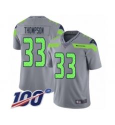 Men's Seattle Seahawks #33 Tedric Thompson Limited Silver Inverted Legend 100th Season Football Jersey