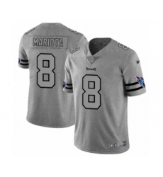 Men's Tennessee Titans #8 Marcus Mariota Limited Gray Team Logo Gridiron Football Jersey