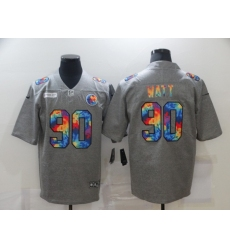 Men's Pittsburgh Steelers #90 T. J. Watt Gray Rainbow Version Nike Limited Jersey